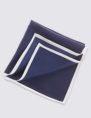 Pure Silk Pocket Square, NAVY, catlanding