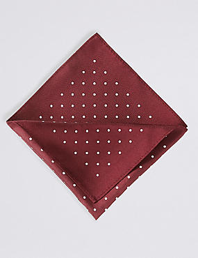 Pure Silk Spotted Pocket Square, BURGUNDY MIX, catlanding