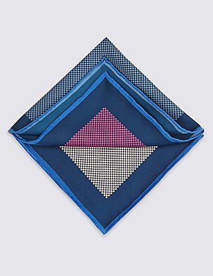 Pure Silk Checked Pocket Square, MULTI, catlanding