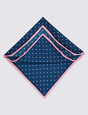 Pure Silk Spotted Pocket Square, NAVY, catlanding