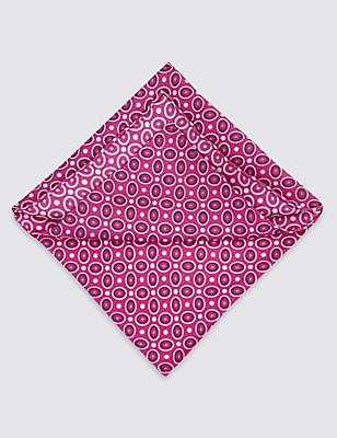 Pure Silk Geometric Print Pocket Square, PINK MIX, catlanding