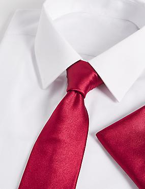 Pure Silk Tie & Pocket Square Set, CRIMSON, catlanding