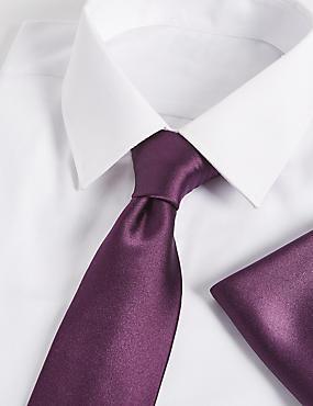 Pure Silk Tie & Pocket Square Set, BLACKBERRY, catlanding