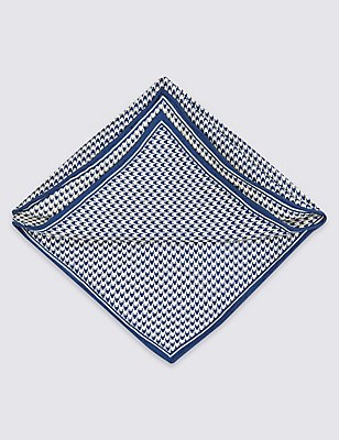 Pure Silk Checked Pocket Square, NAVY, catlanding