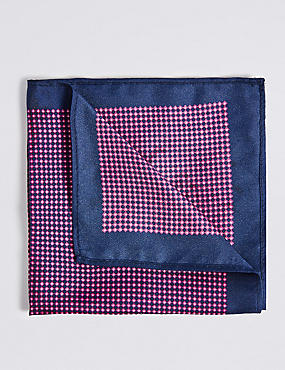 Pure Silk Printed Pocket Square, MAGENTA, catlanding