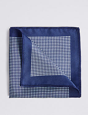 Pure Silk Printed Pocket Square, NAVY, catlanding