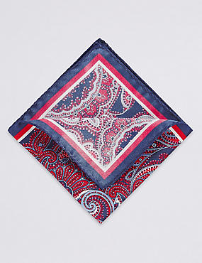 Pure Silk Paisley Print Pocket Square, RED, catlanding