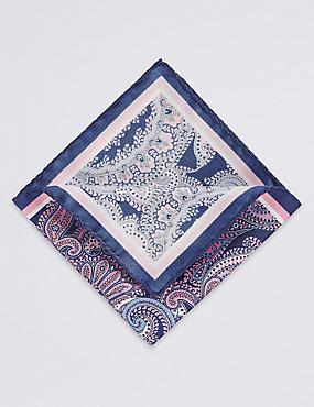 Pure Silk Paisley Print Pocket Square, NAVY, catlanding