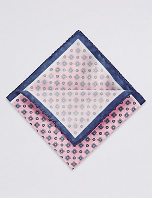 Pure Silk Printed Pocket Square, PINK, catlanding