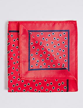 Pure Silk Printed Pocket Square, RED, catlanding