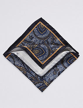 Pure Silk Printed Pocket Square , GOLD MIX, catlanding