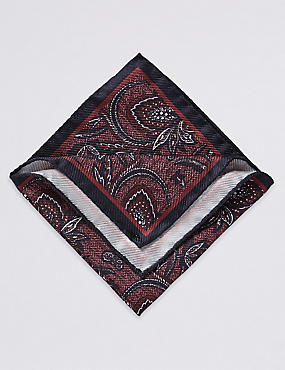 Pure Silk Printed Pocket Square , BURGUNDY MIX, catlanding