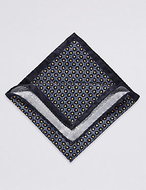 Pure Silk Printed Pocket Square, GOLD MIX, catlanding