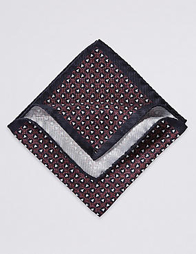 Pure Silk Printed Pocket Square, BURGUNDY MIX, catlanding