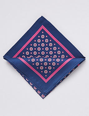Pure Silk Printed Pocket Square, BLUE MIX, catlanding