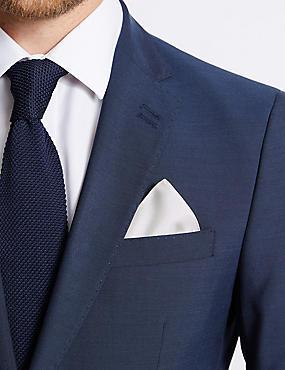 Pure Silk Pocket Square, CREAM, catlanding