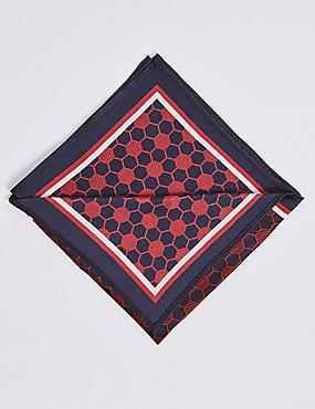 Pure Silk Geometric Print Pocket Square, , catlanding