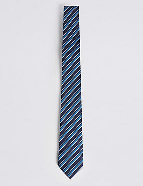 Textured Stripe Tie, BLUE MIX, catlanding