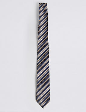 Textured Stripe Tie, BEIGE MIX, catlanding