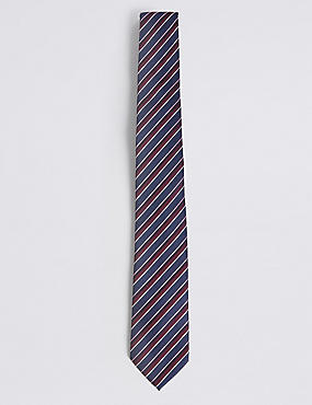 Textured Stripe Tie, PLUM MIX, catlanding