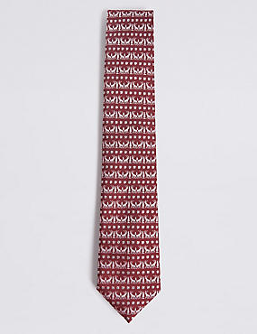 Novelty Christmas Motif Tie, BURGUNDY, catlanding