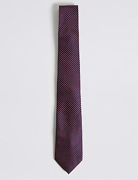 Krawatte mit geometrischem Muster, MARINEBLAU MELANGE, catlanding