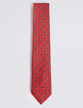 Novelty Christmas Tree Tie, RED MIX, catlanding