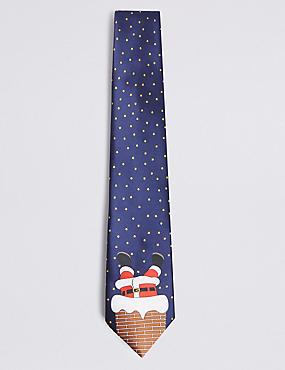 Novelty Santa in a Chimney Tie, NAVY MIX, catlanding