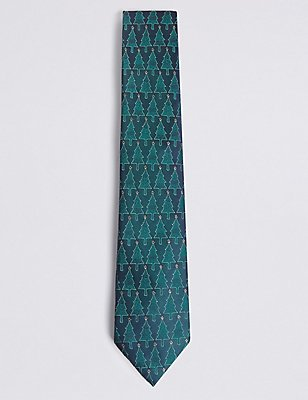 Christmas Tree Motif Novelty Tie, GREEN MIX, catlanding