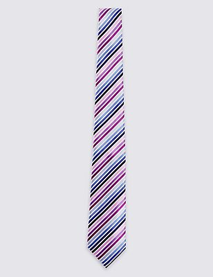 Satin Striped Tie, PINK MIX, catlanding
