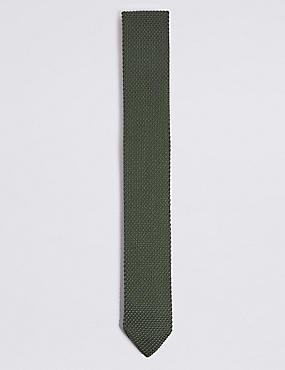 Knitted Tie, KHAKI, catlanding