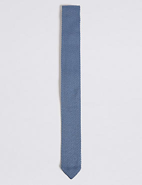 Knitted Tie, SMOKEY BLUE, catlanding