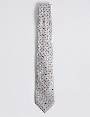 Circle Spotted Tie, GREY, catlanding