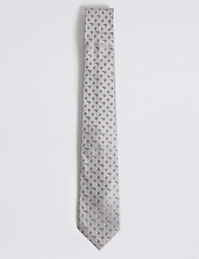 Circle Spotted Tie, GREY, catlanding