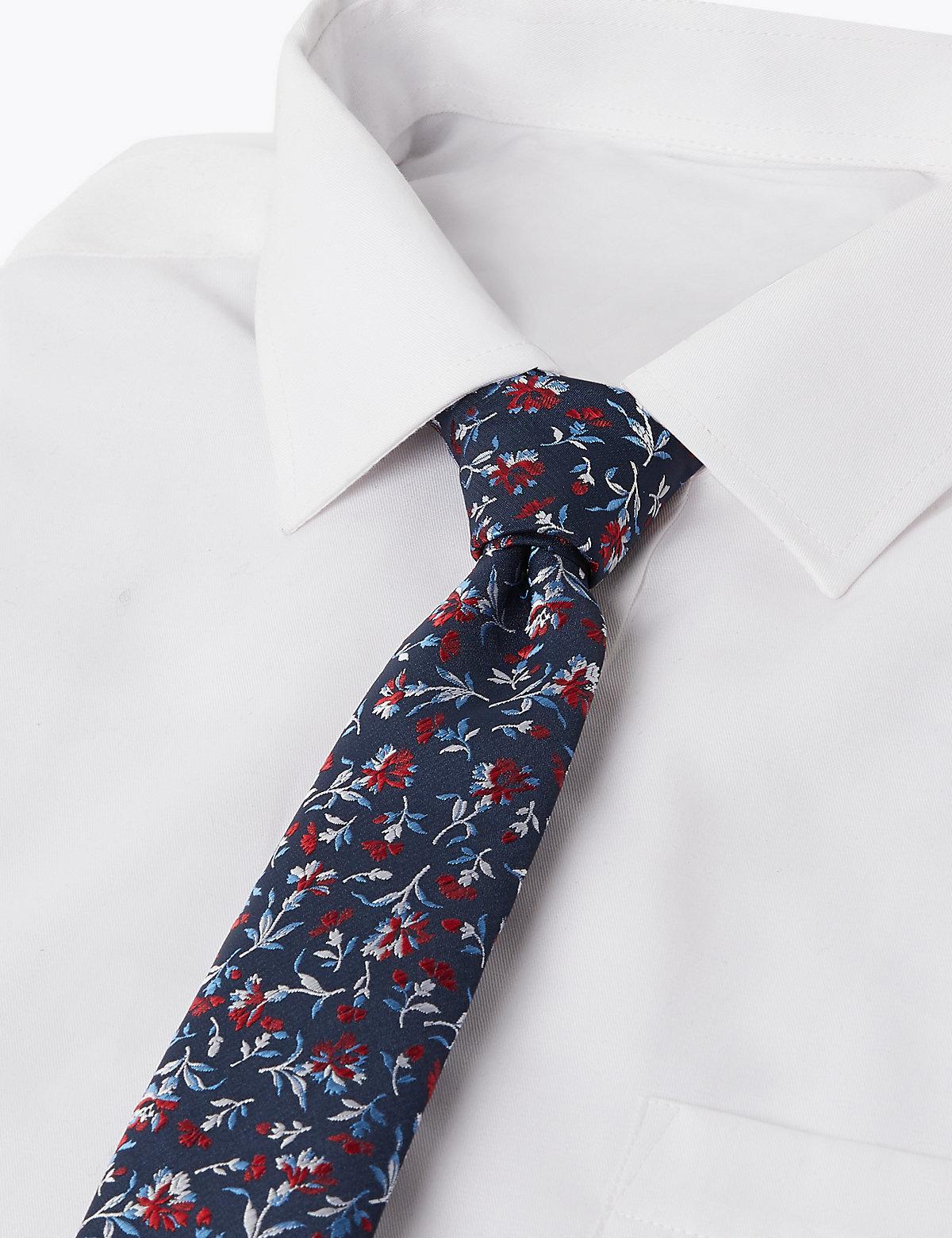 Узкий  галстук с цветочным принтом