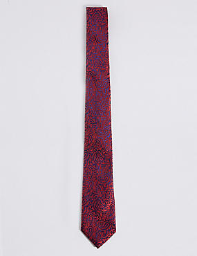 Pure Silk Paisley Print Tie, RED MIX, catlanding