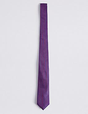 Cravate 100% soie à imprimé géométrique, ROSE ASSORTI, catlanding