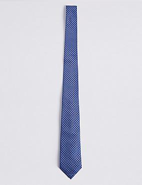 Cravate 100% soie à imprimé géométrique, BLEU ASSORTI, catlanding