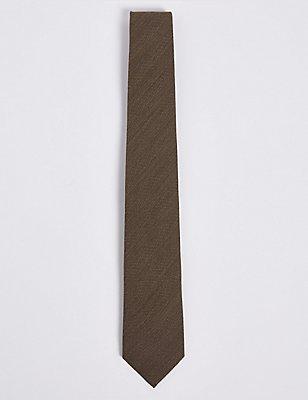 Wool Rich Herringbone Tie, TAUPE MIX, catlanding