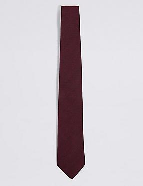 Wool Rich Herringbone Tie, BURGUNDY, catlanding