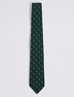 Wool Rich Novelty Tie, DARK GREEN MIX, catlanding
