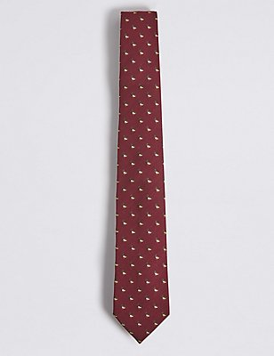 Wool Blend Novelty Tie, BURGUNDY MIX, catlanding