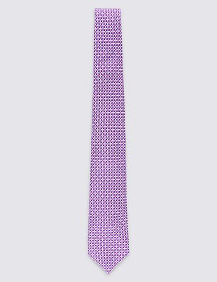 Pure Silk Semi Textured Tie, PINK MIX, catlanding