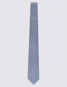Pure Silk Semi Textured Tie, BLUE MIX, catlanding