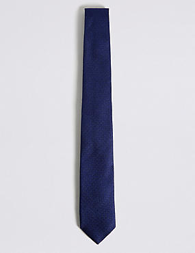 Pure Silk Grenadine Textured Tie, NAVY, catlanding