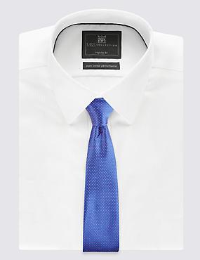 Pure Silk Spotted Tie, NAVY, catlanding