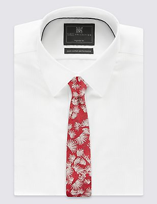 Pure Silk Textured Floral Tie, RED MIX, catlanding