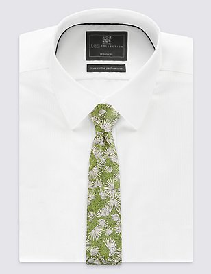 Pure Silk Textured Floral Tie, GREEN MIX, catlanding