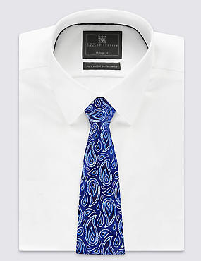 Pure Silk Paisley Print Tie, BLUE MIX, catlanding