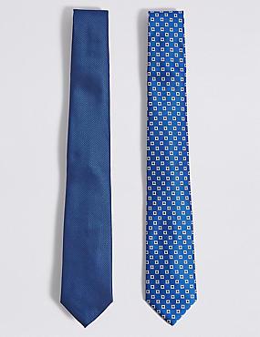 2 Pack Assorted Ties, ROYAL BLUE, catlanding